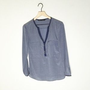 Zara Basic Star Polka Dot Pop Over Blouse Navy